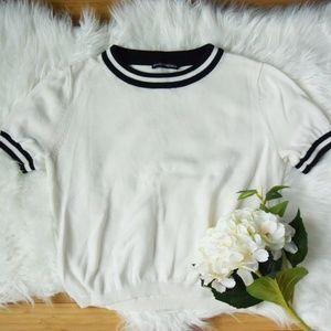 Brandy Melville White Cropped Shirt